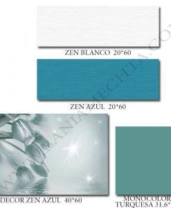 Плочки за баня в цвят тюркоаз ZEN AZUL