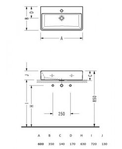 Порцеланов умивалник за монтаж в/у плот или мебел MINIMAL 2046