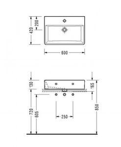 Порцеланов умивалник за монтаж в/у плот или мебел MINIMAL 2047