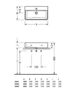 Порцеланов умивалник за монтаж в/у плот или мебел MINIMAL 2048