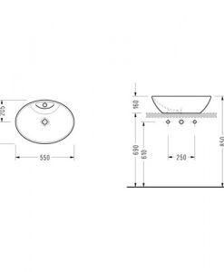 Порцеланов умивалник за монтаж в/у плот CH34