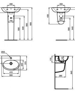 Порцеланов умивалник SEVA FRESH VIDIMA W405501 50см