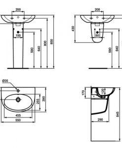 Порцеланов умивалник SEVA FRESH VIDIMA W405601 55см