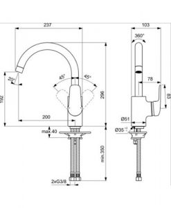 Смесител за кухня с висок тръбен чучур CERAFLEX R200 B1727AA