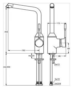 Смесител за кухня с висок тръбен чучур RETTA B8985AA