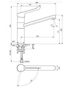 Смесител за кухня с медицинска ръкохватка CERAFLEX студен старт BC137AA