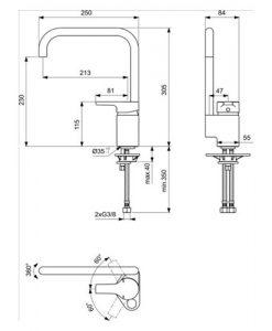 Смесител за кухня с тръбен чучур ACTIVE B8084AA