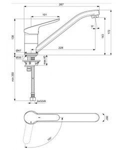 Смесител за кухня CERAFLEX IDEAL STANDARD студен старт BC129AA