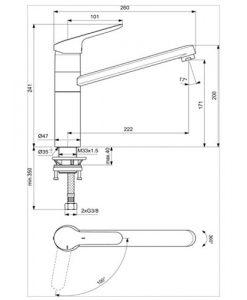 Смесител за кухня CERAFLEX IDEAL STANDARD студен старт BC135AA