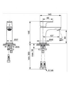 Смесител за мивка без изпразнител IDEAL STANDARD CONNECT AIR A7010AA