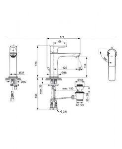 Смесител за мивка студен старт с изпразнител CONNECT AIR GRANDE A7013AA