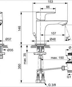 Смесител за мивка с изпразнител CONNECT AIR A7007AA