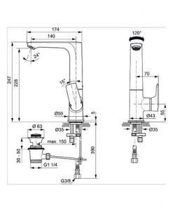 Смесител за мивка с изпразнител CONNECT AIR A7020AA