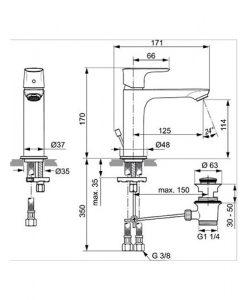 Смесител за мивка с изпразнител CONNECT AIR GRANDE A7012AA