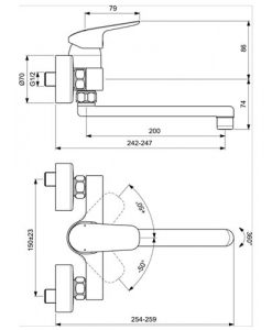 Стенен смесител за кухня с въртящ тръбен чучур CERAFLEX  B1730AA