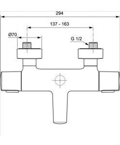 Термостатен смесител за вана/душ с аксесоари CERATHERM 100 NEW A4624AA