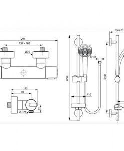 Термостатен смесител за душ с аксесоари CERATHERM 100 NEW A4620AA