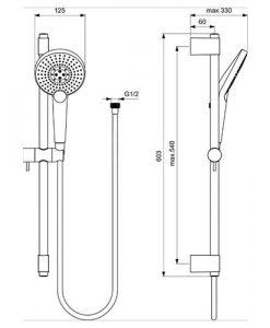 Тръбно окачване 60см IDEALRAIN EvoJET ROUND с ръчен душ 125мм B1761AA