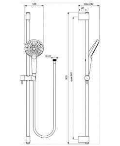 Тръбно окачване 90см IDEALRAIN EvoJET ROUND с ръчен душ 125мм B1763AA