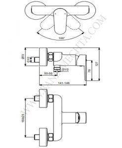 Смесител за душ TYRIA BC156HS ХРОМ/ЧЕРЕН МАТ