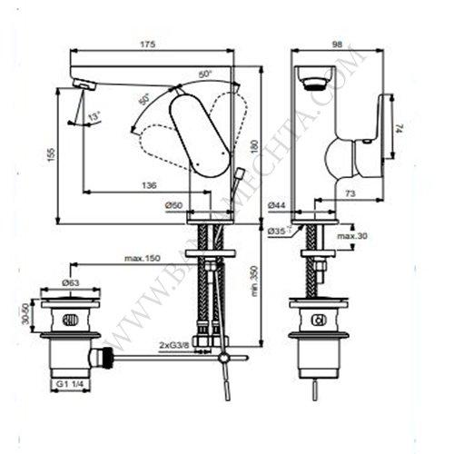 Смесител за умивалник с висок лят чучур и изпразнител TYRIA BC161AA ХРОМ