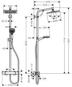 Душ система термостат HANSGROHE CROMETTA E240 27271000