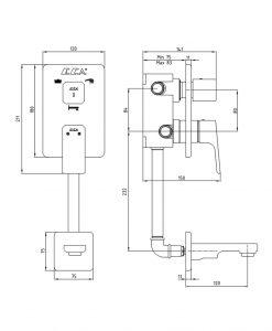 Смесител за вграждане с превключвател и чучур TIERA 102101145