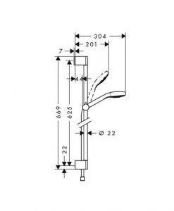 Тръбно окачване с шлаух и слушалка HANSGROHE CROMETTA SELECT E VARIO 26582400