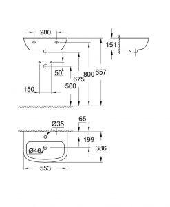 Умивалник за стенен монтаж 55 см. 39440000 BAU CERAMIC GROHE