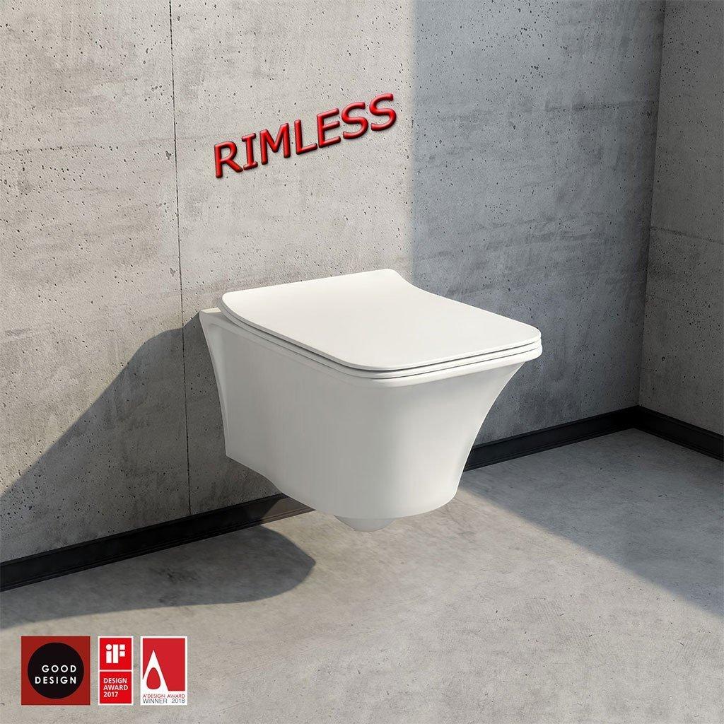Конзолна тоалетна с биде IMOLA RIMLESS с капак Soft Close