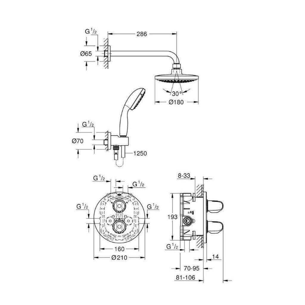 Душ комплект термостат за вграждане GROHE GROHTHERM 1000 34614001
