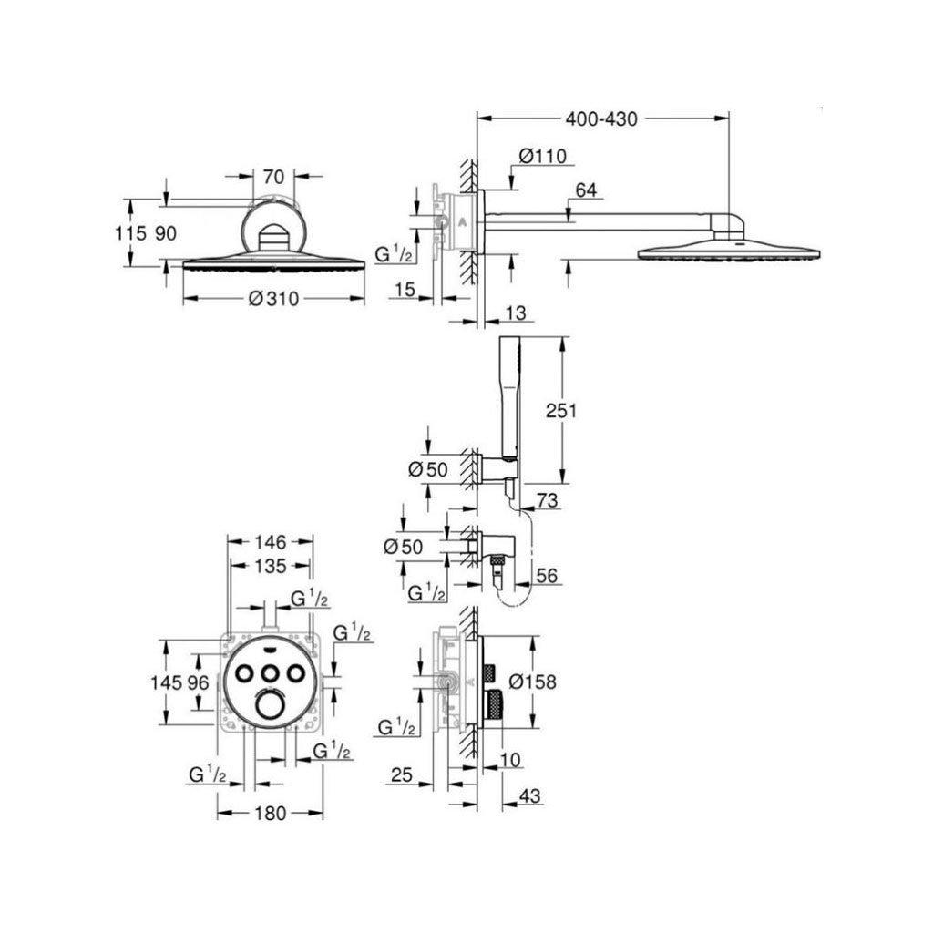 Комплект термостат за вграждане GROHE GRT SMARTCONTROL 34705000
