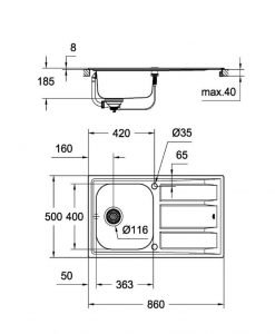 Кухненска мивка K400 31566SD0 GROHE