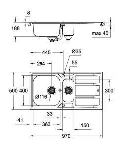 Кухненска мивка с две корита GROHE К400 31567SD0