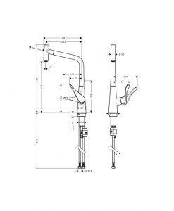 Кухненски смесител с издърпващ се чучур HANSGROHE METRIS SELECT 14884000