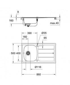 Промо комплект GROHE кухненска мивка 31562SD0 и смесител BAUEDGE