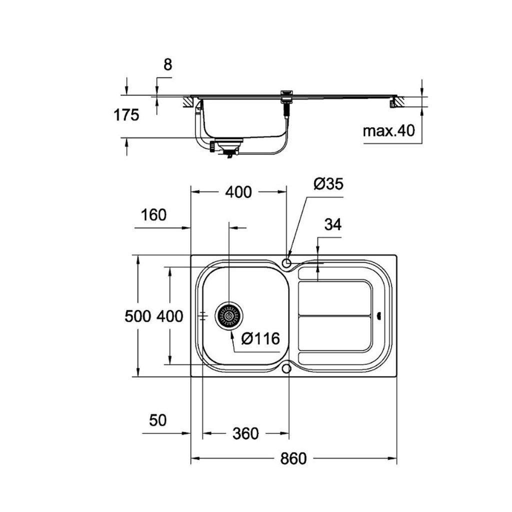 Промо комплект GROHE кухненска мивка 31565SD0 и смесител EUROSMART