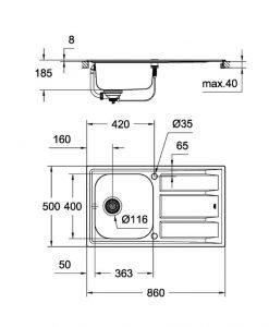 Промо комплект GROHE кухненска мивка K400 31570SD0 и смесител CONCETTO