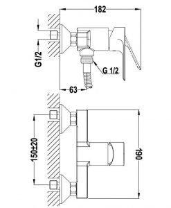 Смесител за душ TEKA CALVIA Б.177.ХР