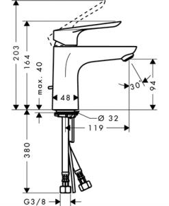 Смесител за умивалник HANSGROHE LOGIS E 100