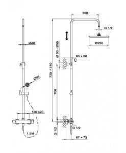 Термостатна душ система INCA PRO TEKA Б.722.ХР