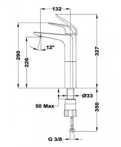 Висок смесител за мивка TEKA ITACA Б.156.ХР