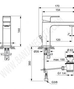 Смесител стоящ за мивка с метален изпразнител EDGE A7101AA