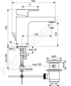Смесител стоящ за умивалник EDGE A7104AA