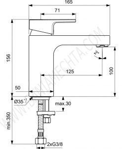 Смесител стоящ за умивалник EDGE A7105AA