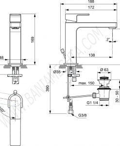 Смесител стоящ за умивалник grande студен старт EDGE A7107AA