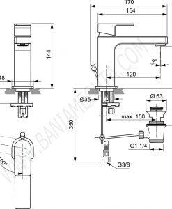 Смесител стоящ за умивалник студен старт EDGE A7102AA