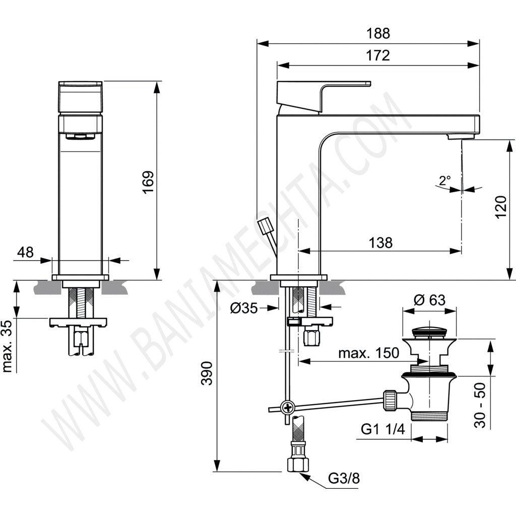 Смесител за умивалник с метален изпразнител EDGE A7106AA
