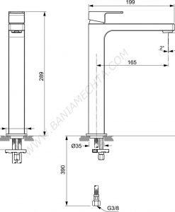 Смесител за умивалник Veassel без изпразнител EDGE A711401