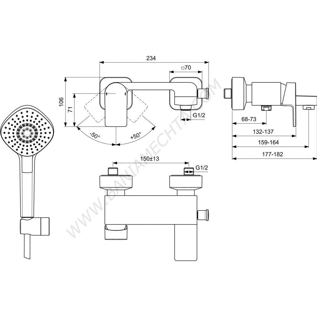 Смесител за ванадуш с аксесоари EDGE A712201